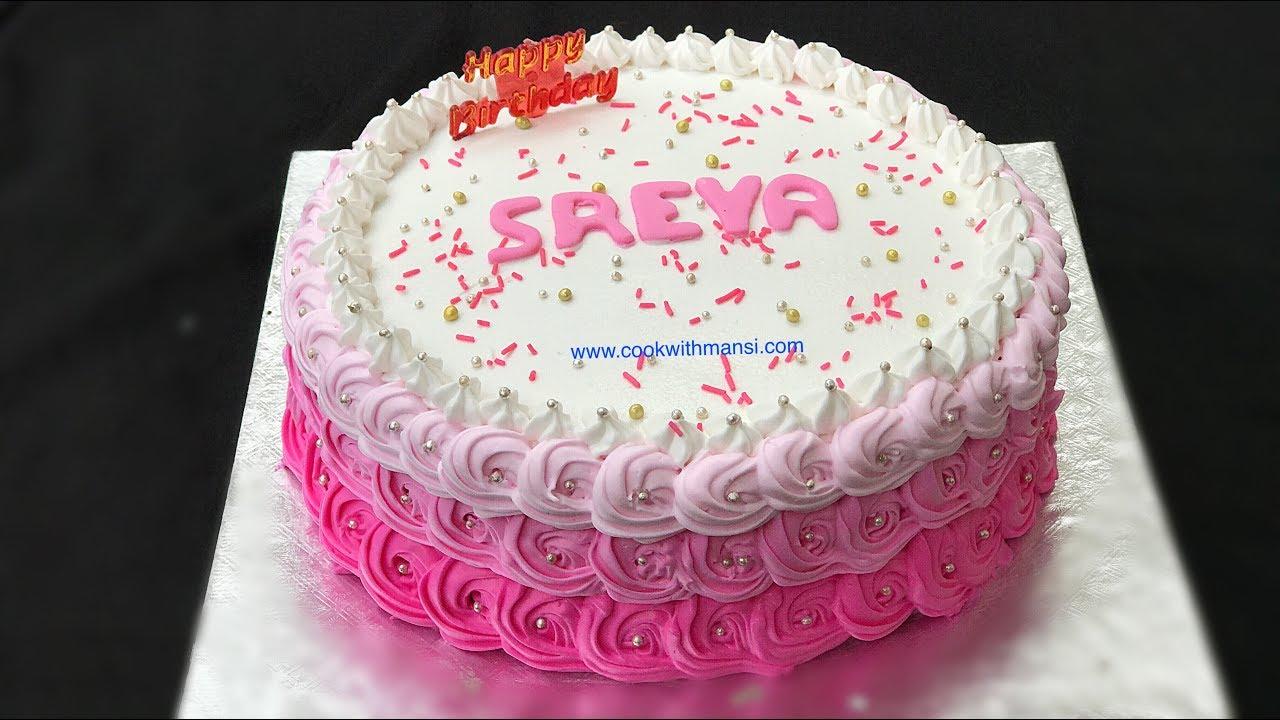 How to decorate a cake   आसान तरीक़े से सजाये केक   Whipped cream cake decorating tutorial   Cake