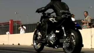 "Going down the drag strip on a 1992 FXR with a 103"" engine and nitrous oxide"