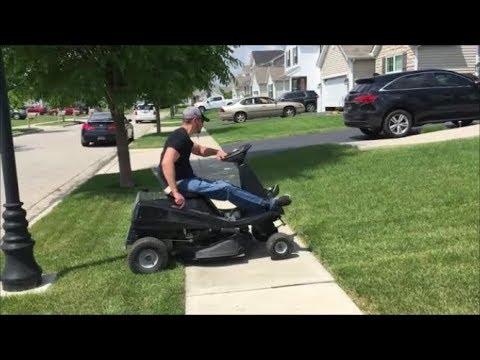 Paraplegic Mowing the Lawn