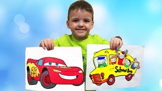Children and toddlers with Car Paints and Coloring