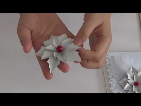 DIY Silver Christmas Pointsettia  Flower Tutorial