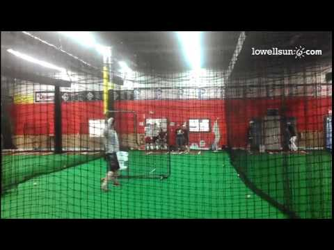 Lowell Post 87 players take batting practice at GameTime Sports & Fitness in preparation of the Amer