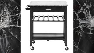 Baxton Studio Quebec Black Wheeled Modern Kitchen Cart With Granite Top  Best Buy