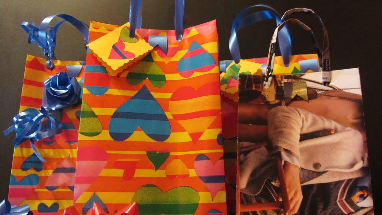 Tutorial como hacer bolsas para regalo con abre f cil - Hacer bolsas de papel en casa ...
