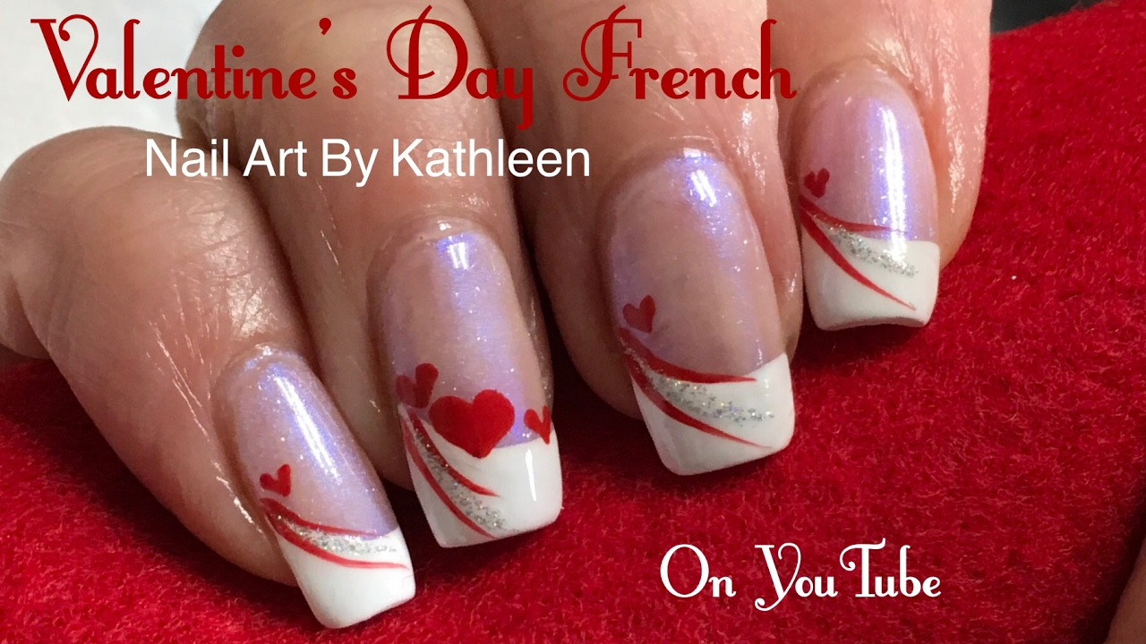 Easy Valentine\'s Day Nail Art - French Manicure With Hearts ...