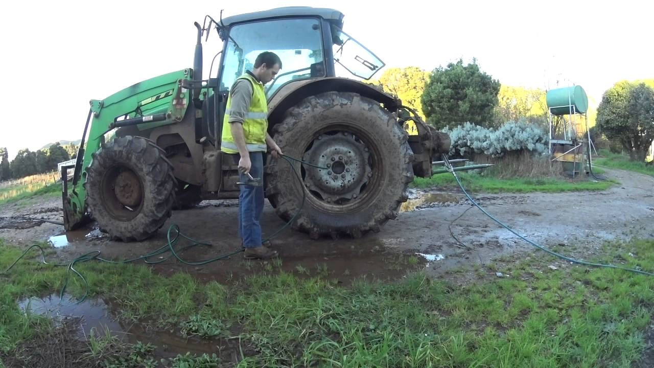 Filling Tractor Tyres With Water Youtube