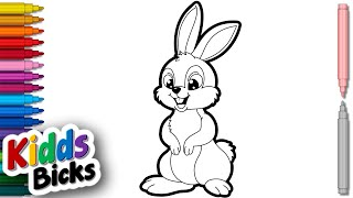 easy drawing cartoon colour rabbit draw step simple