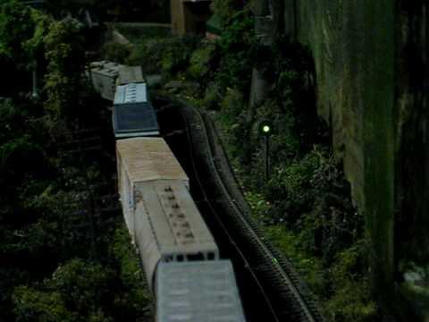 HO Turbotrain passes B&M Freight