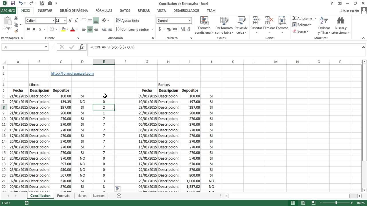 Formulas Excel para Conciliar Bancos