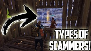 Types of Scammers in fortnite save the world! (scammer gets scammed)