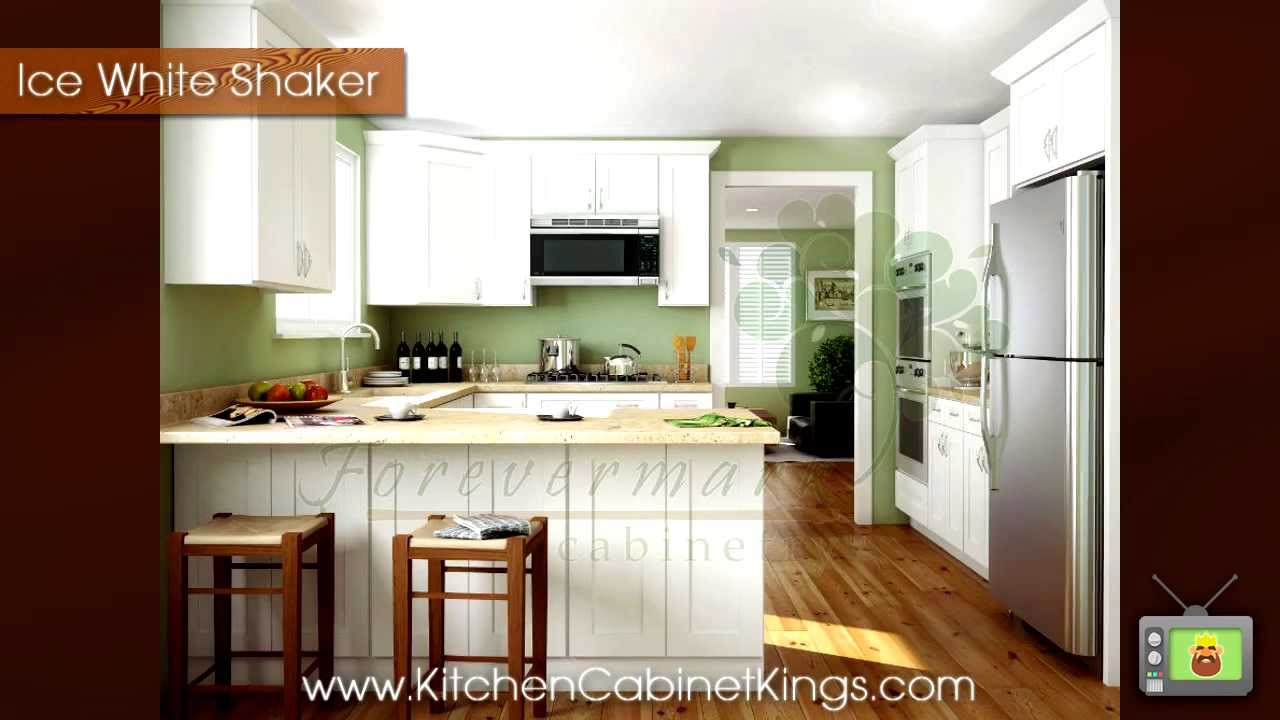 Ice white shaker kitchen cabinets by kitchen cabinet kings for Kitchen cabinets king