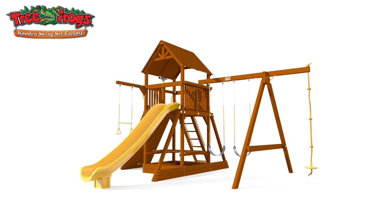Tree Frogs Wooden Swing Set Factory 6 5 Bengal Fort With Wood Roof