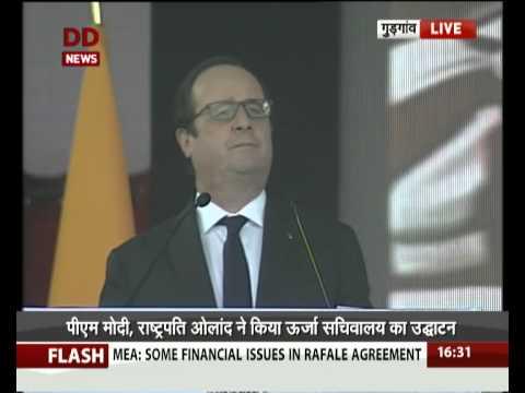 PM Modi President Hollande inaugurate International Solar Alliance Secretariat