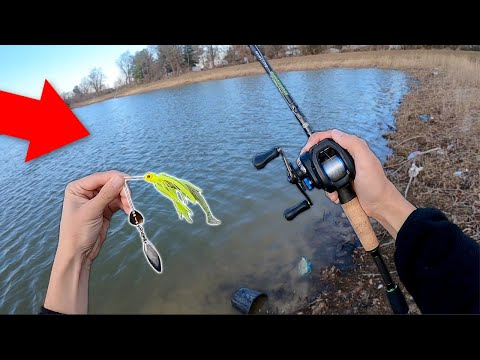 winter-bass-mission!!-bank-fishing-a-new-pond!!-(unexpected)
