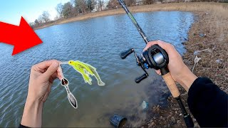 WINTER BASS MISSION!! Bank Fishing a NEW Pond!! (UNEXPECTED)