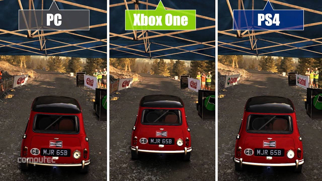 dirt rally graphics comparison grafikvergleich pc vs. Black Bedroom Furniture Sets. Home Design Ideas