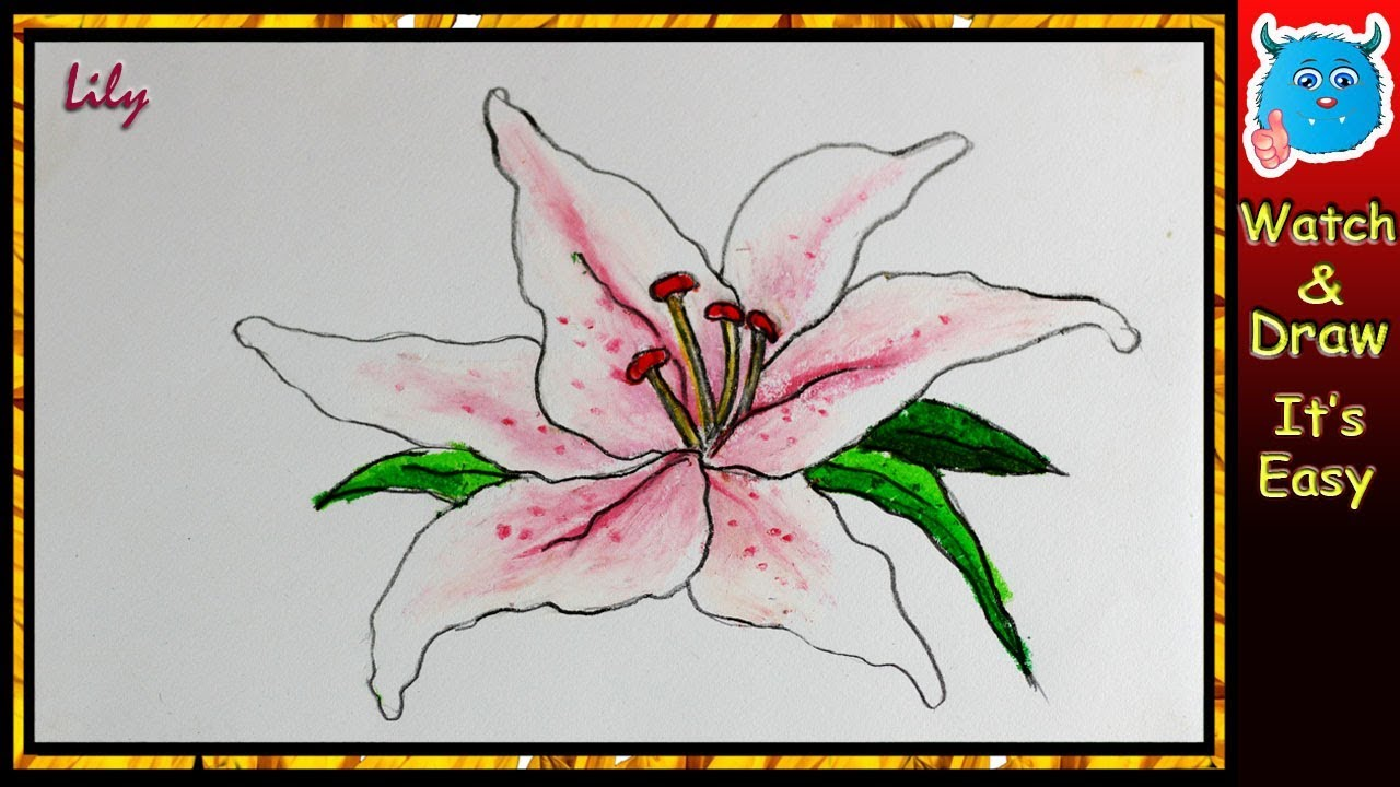 How To Draw Lily Flower Drawing Tutorial In Oil Pastel Very Easy