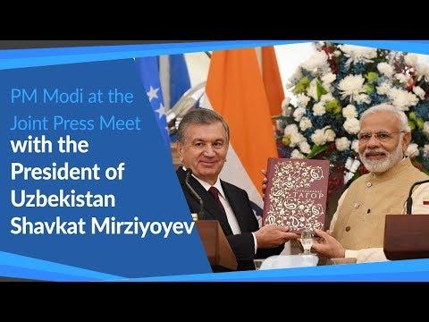 PM Modi at the Joint Press Meet with President of Uzbekistan Shavkat Mirziyoyev | PMO