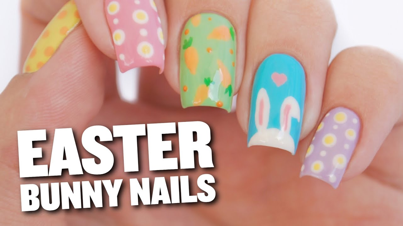 Easter Bunny & Eggs Nail Art Design - YouTube