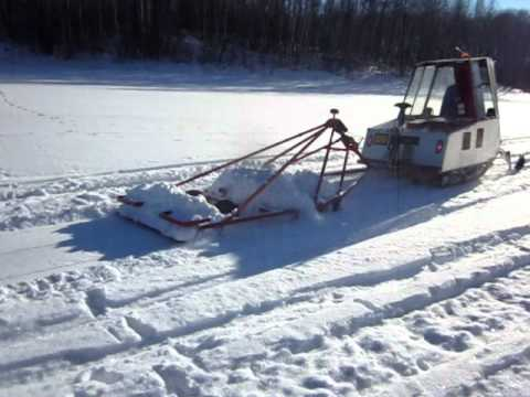 Snowmobile Trail Grooming With Homemade Twin Track