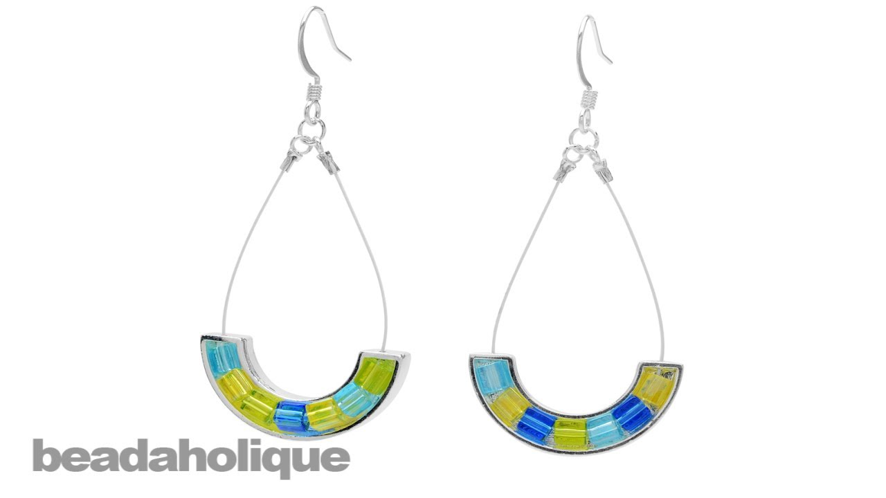 How to Make Cube Bead Earrings with Beading Wire and Curved ...