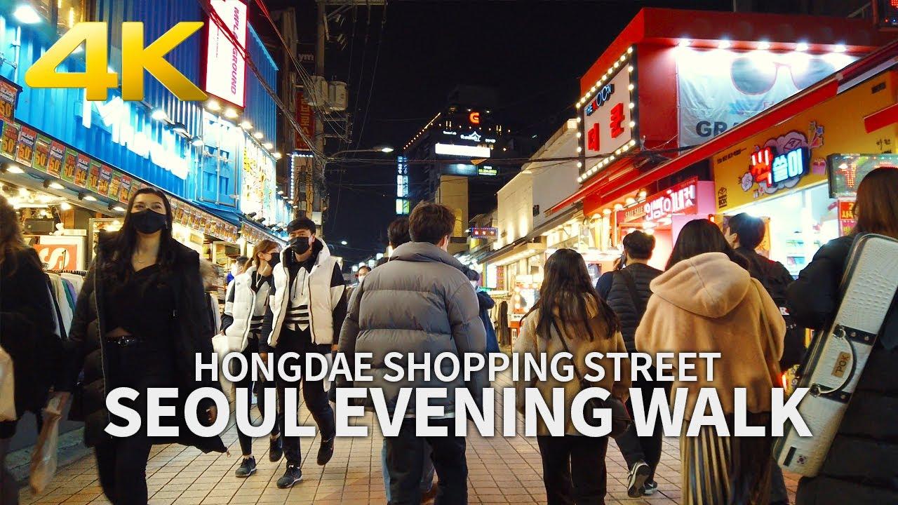 [4K] SEOUL EVENING WALK - Hongdae Shopping Street(Hongik University), South Korea 토요일 밤 서울 홍대거리 산책