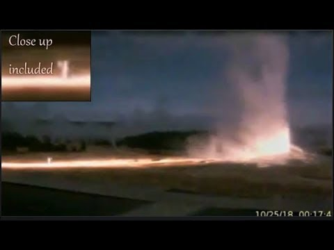 Geyser Lit Long Time-Close-up-Ranger Seems Alarmed @Overnight Yellowstone Oct 25/18
