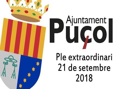 Puçol: Ple extraordinari del 21 de setembre de 2018