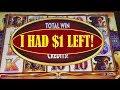 $1 LEFT into BIG WIN! ON BUFFALO GOLD SLOT MACHINE!