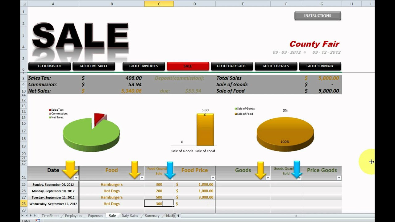 Profit/Loss Excel Spreadsheet - YouTube