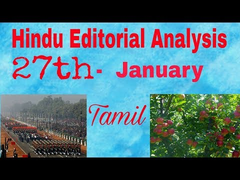 27 Jan 2018 - Hindu Editorial Analysis in Tamil | Indian Republic day - 2018