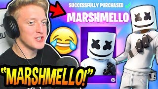 "TFUE BUYS & REACTS TO THE *NEW* ""MARSHMELLO"" SKIN & ""MARSH WALK"" EMOTE! Fortnite FUNNY Moments"