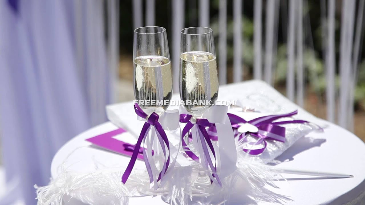 Wedding glasses with champagne, purple color style. Free HD stock ...