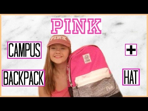 Victoria's Secret PINK Unboxing/Review! Campus Backpack + Baseball Hat!