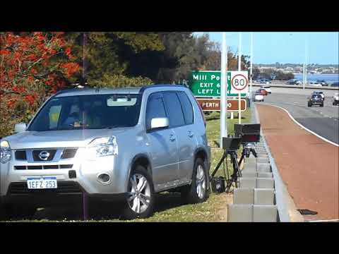 perth multinova police offficer illegal radar placement at the bottom of a hill
