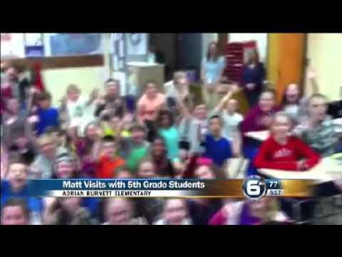 Matt Hinkin visits Adrian Burnett Elementary School