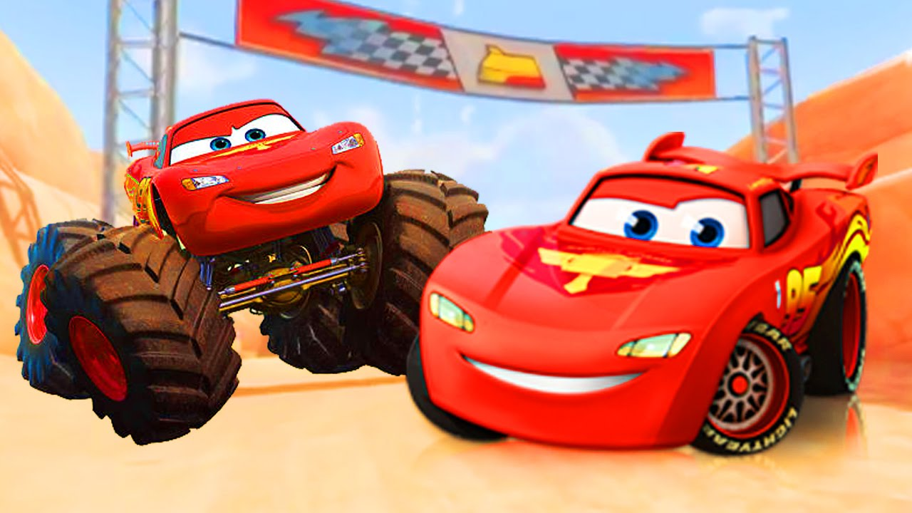 monster truck flash mcqueen fait la course radiator spring avec ses amis gameplay disney. Black Bedroom Furniture Sets. Home Design Ideas