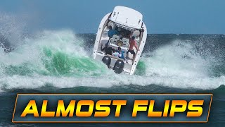 BOAT ALMOST FLIPS AT BOCA INLET! | Boats vs Haulover Inlet