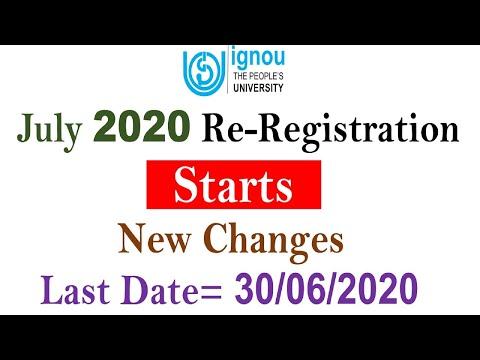 New Changes In IGNOU Re-Registration    Re-Registration START For JULY 2020 SESSION    Complete Info