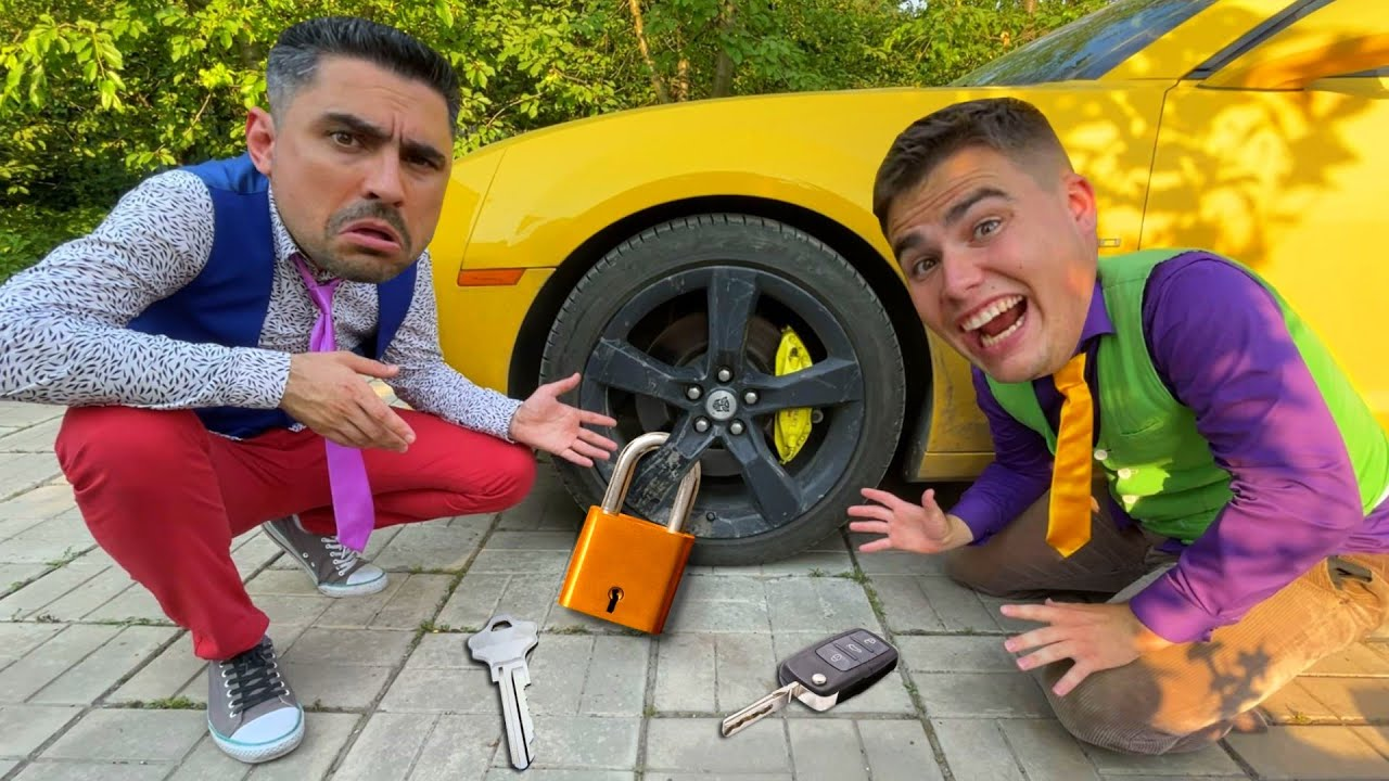 Mr. Joe on Lamborghini Roadster Closed Wheel of Car with Lock VS Mr. Joker on Chevy Camaro 13+