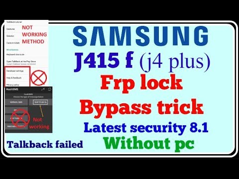 Samsung j415f (J4 plus) frp bypass new method  Talkback failed
