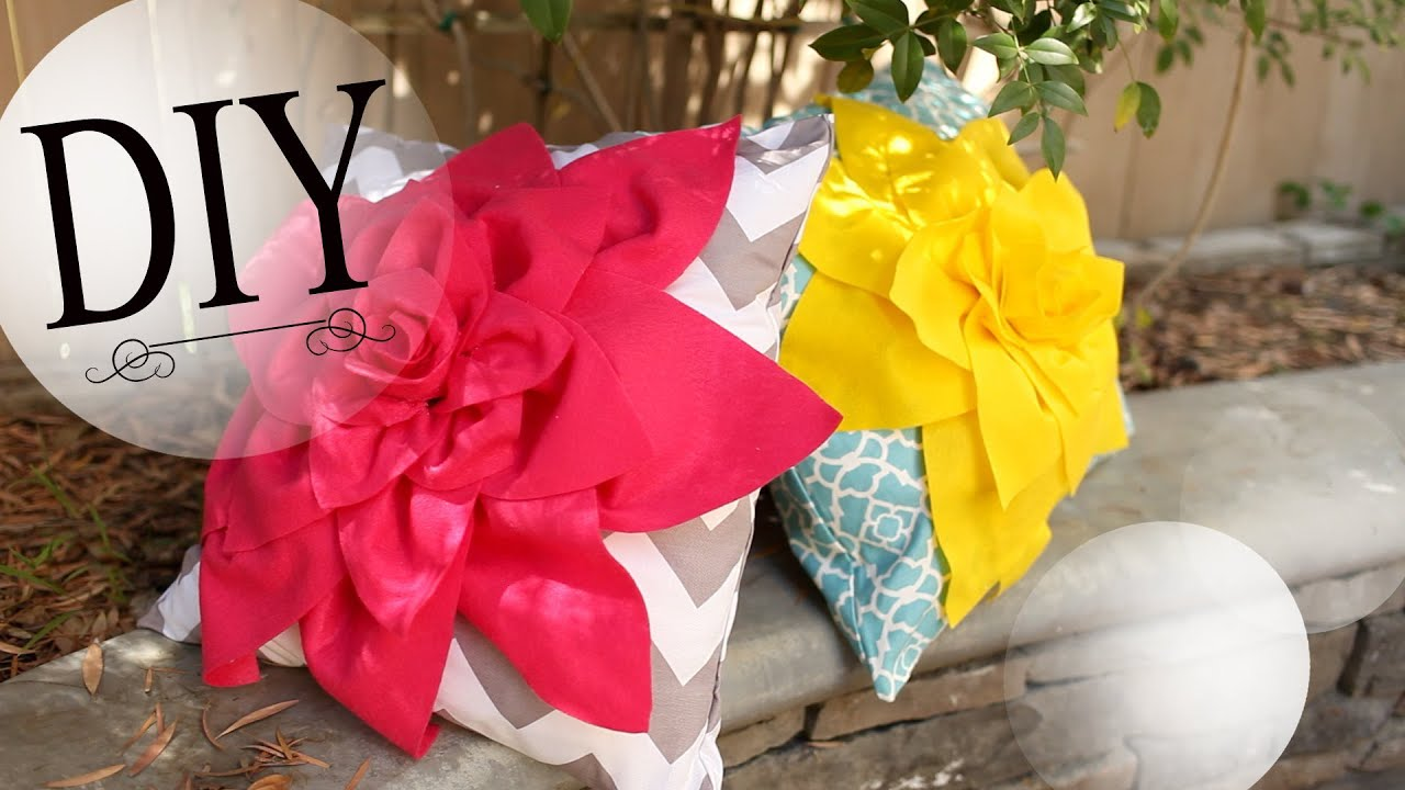 DIY Room Decor: How to Make a Cute Flower Pillow - YouTube