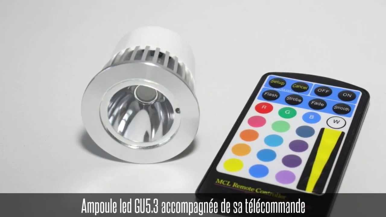 ampoule led gu53 multicolore avec sa t l commande youtube. Black Bedroom Furniture Sets. Home Design Ideas