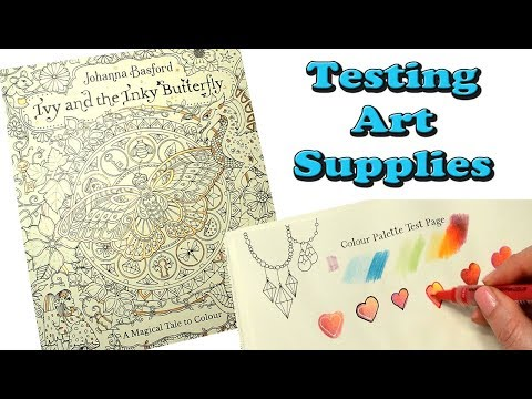 Testing Art Supplies in Ivy and the Inky Butterfly Coloring Book by Johanna Basford