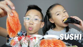 SUSHI Rainbow Roll, Salmon Sashimi & Tamago Cone Mukbang | N.E Let's Eat