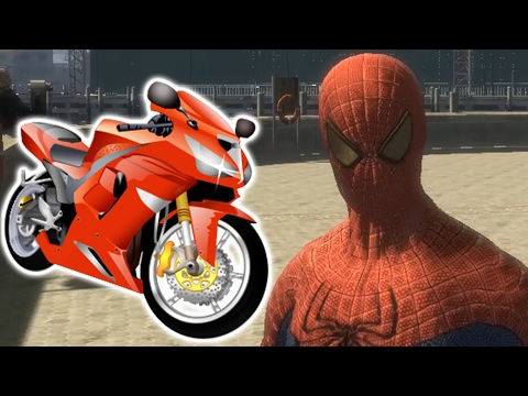 Incredible Spider-Man and motorcycle