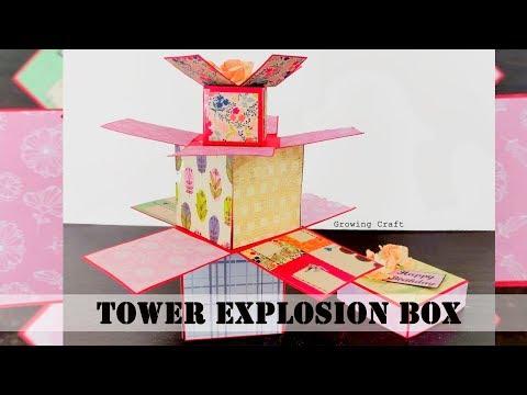Tower explosion box♥diy explosion box♥pop up card♥3d card♥handmade cards♥growing craft♥tutorial