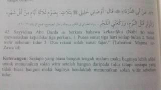 Hadis. Puasa sunat putih 13,14,15 hb islam. Solah witir. Solah sunat fajar 2017 Video