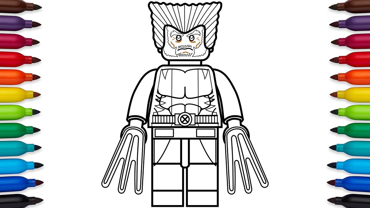 How to draw Lego Wolverine Marvel Superheroes coloring pages