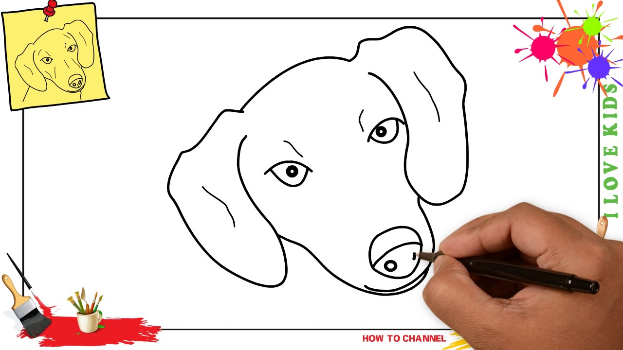 How To Draw A Dog Face Head Easy Slowly Step By Step For Kids